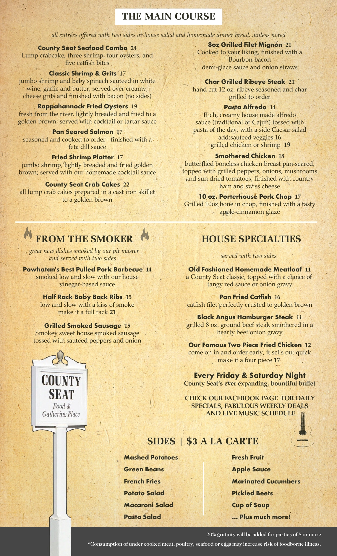 County Seat Dinner Menu - Page 2